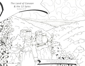 The land of canaan & the 12 spies teach us the bible Hannah Coloring Page Paul Coloring Page Cluster of Grapes Coloring Page