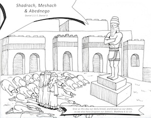 Shadrach Meshach Abednego Teach Us The Bible Shadrach Meshach And Abednego Coloring Page