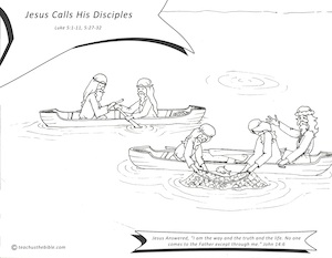 Jesus Calls His Disciples Coloring Sheet