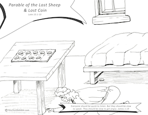 Parable Of The Lost Coin Coloring Sheet