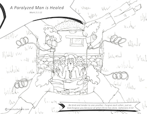 A Paralyzed Man Is Healed Coloring Sheet