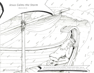 Jesus Calms The Storm Coloring Sheet