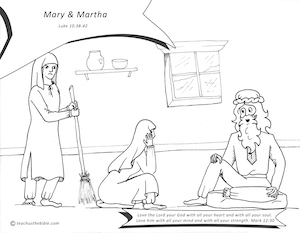 Jesus at the Home of Martha and Mary (Luke 10:38-42) coloring page ... | 233x300