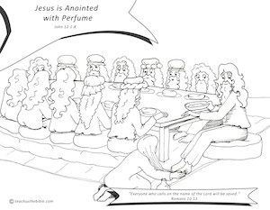 Mary Anoints Jesus Coloring Sheet