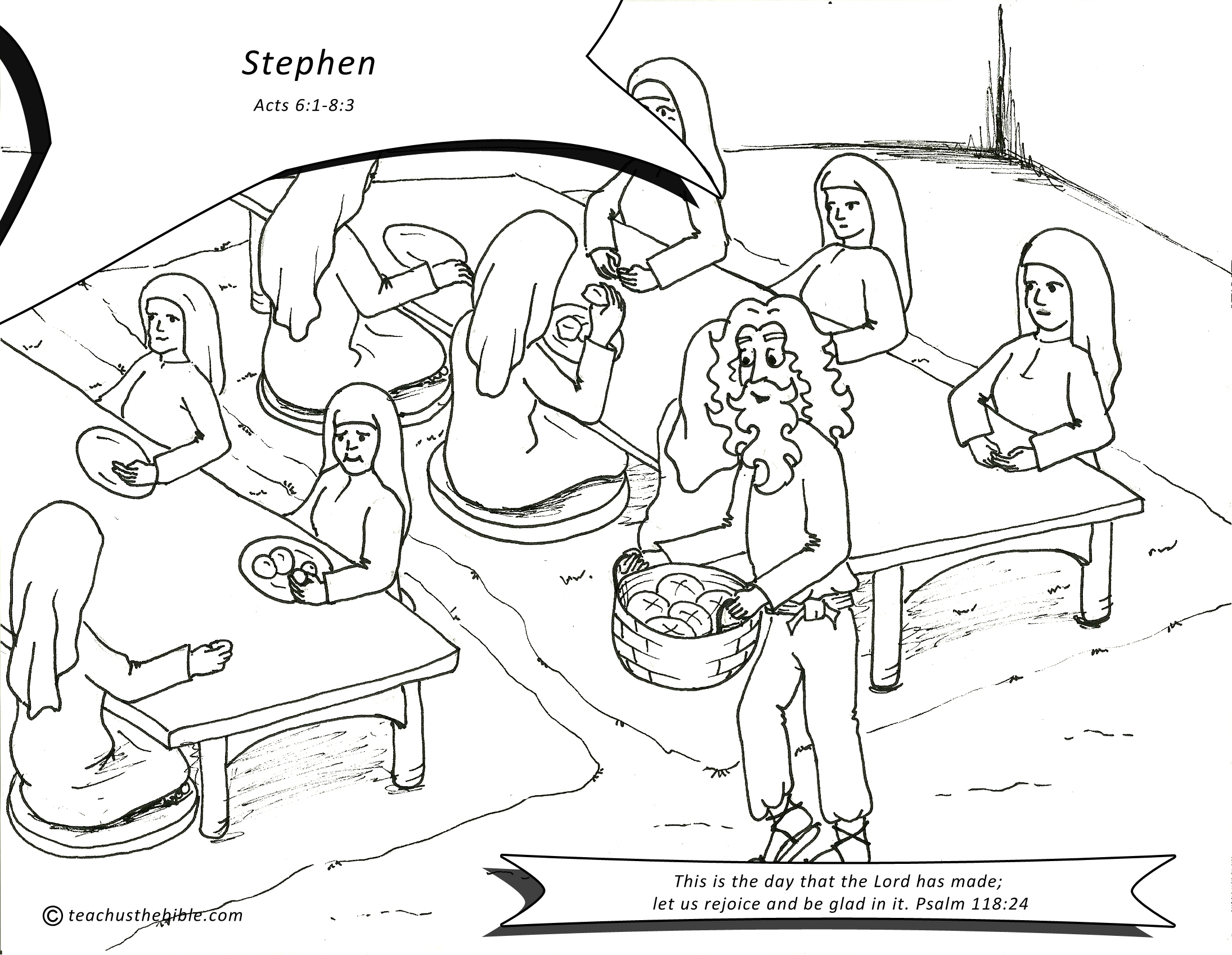 stephen feeds the widows coloring sheet