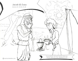 JACOB AND ESAU Bible Story Coloring Page with Verses | Religious ... | 233x300