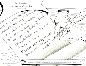 Paul Writes Letters To Churches Coloring Sheet
